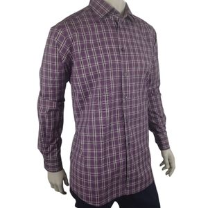 Eton Purple Plaid Houndstooth Dress Shirt Size XL